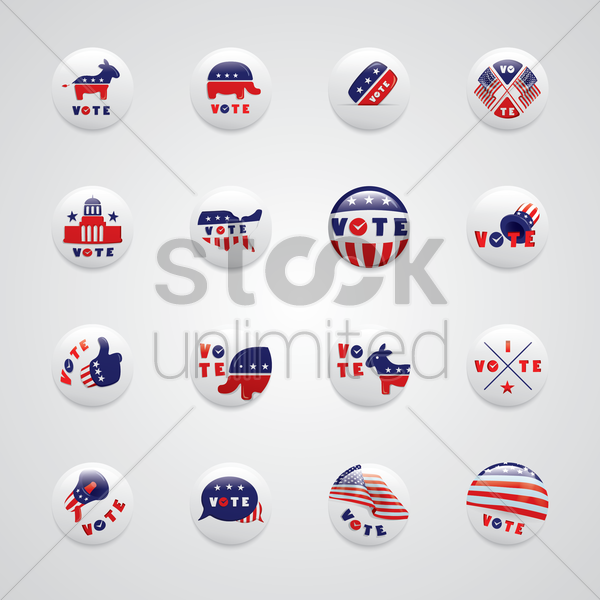 usa election badges vector graphic