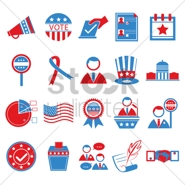 usa election icons vector graphic