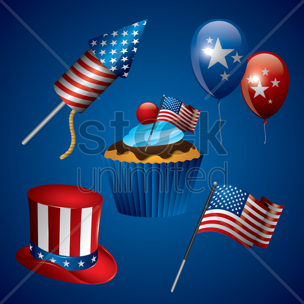 usa icon set vector graphic