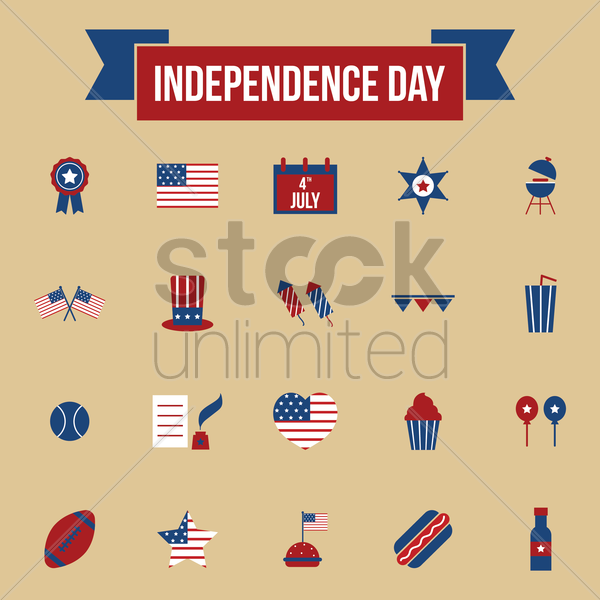 usa independence day icons vector graphic