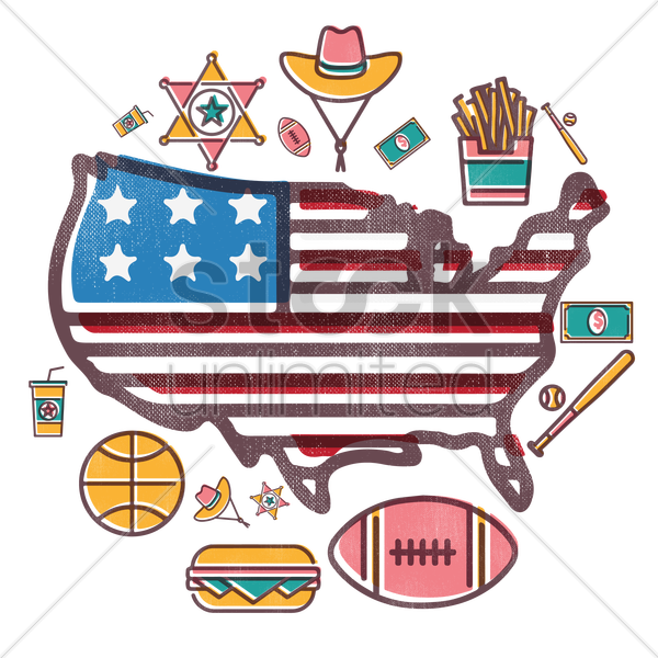 usa map with icons vector graphic