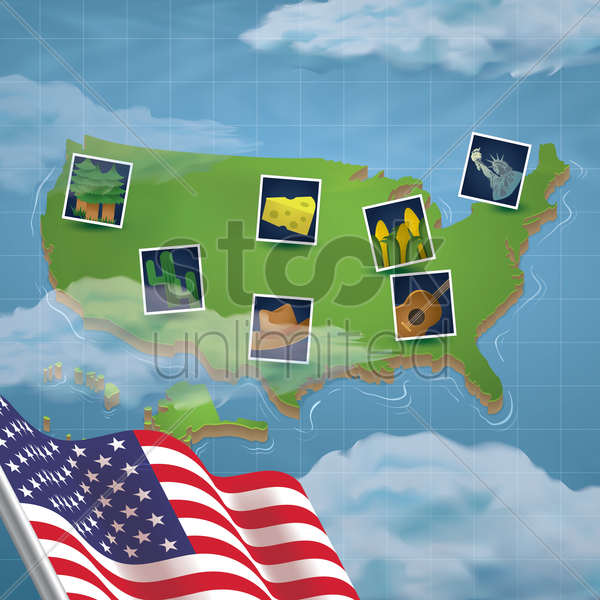 usa map with photos vector graphic