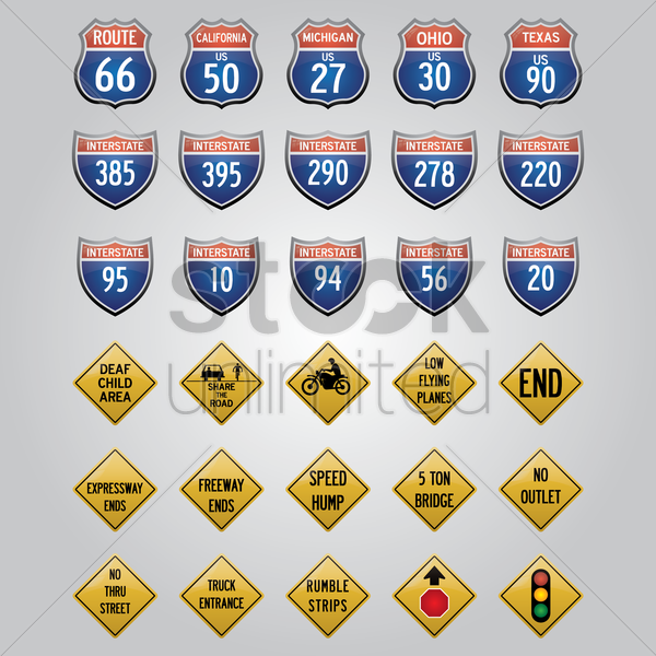 usa road signs icons vector graphic