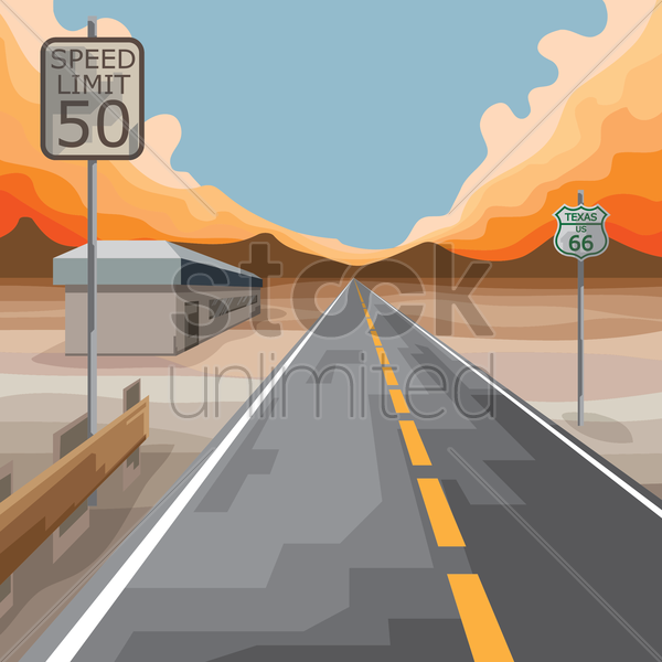 Free usa sign board on highway vector graphic
