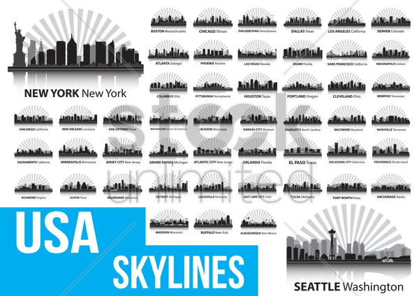 usa skylines vector graphic