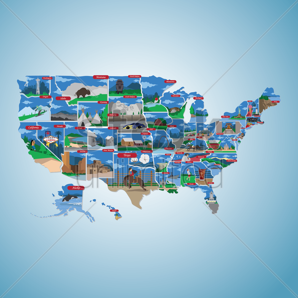 usa state map vector graphic