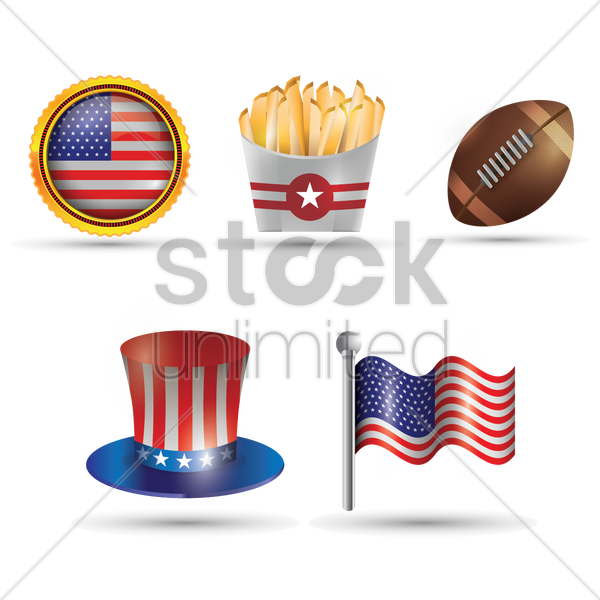 usa symbols collection vector graphic