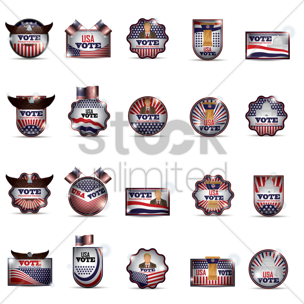 usa vote labels vector graphic