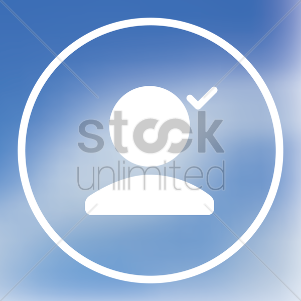 user icon with checkmark vector graphic
