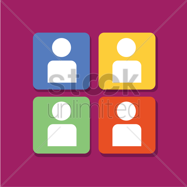 user icons set on purple background vector graphic