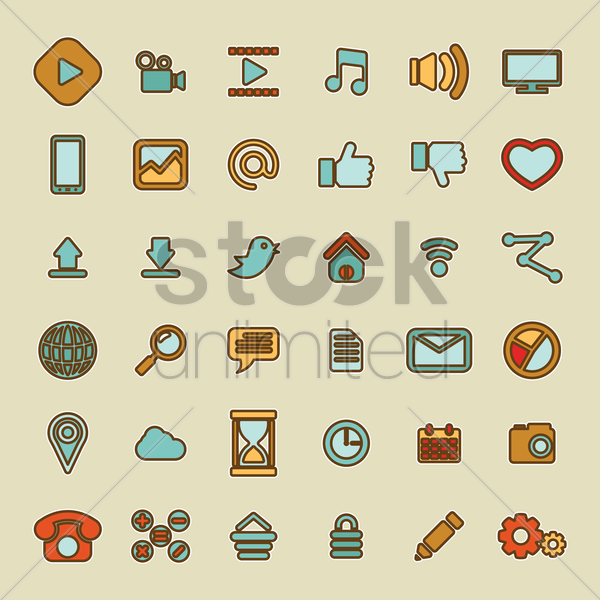 user interface icon set vector graphic