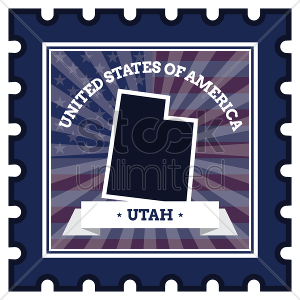 utah postage stamp vector graphic