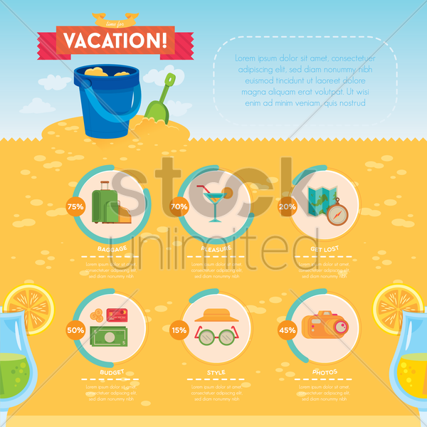 vacation infographic vector graphic