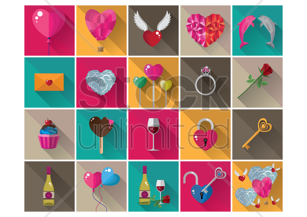 valentine icons vector graphic