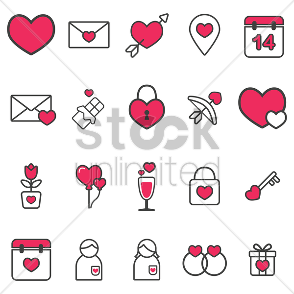 valentine's day icons collection vector graphic