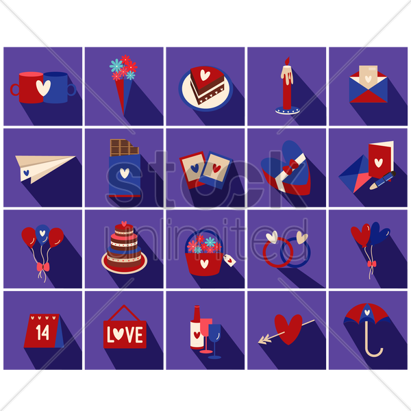 valentine's day icons vector graphic