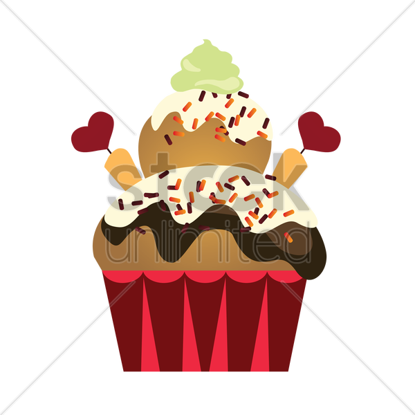 vanilla and chocolate flavored cupcake vector graphic