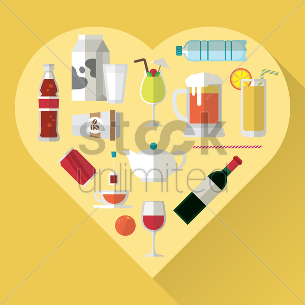 variety of beverages vector graphic