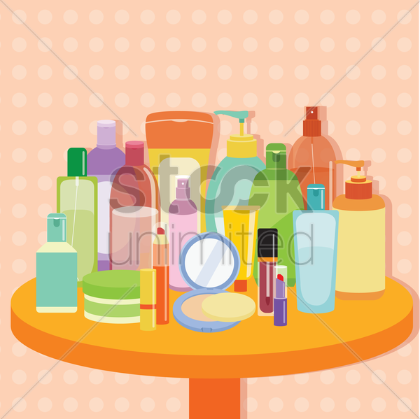 variety of cosmetic bottles on a table vector graphic