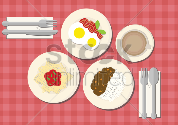 variety of dishes vector graphic