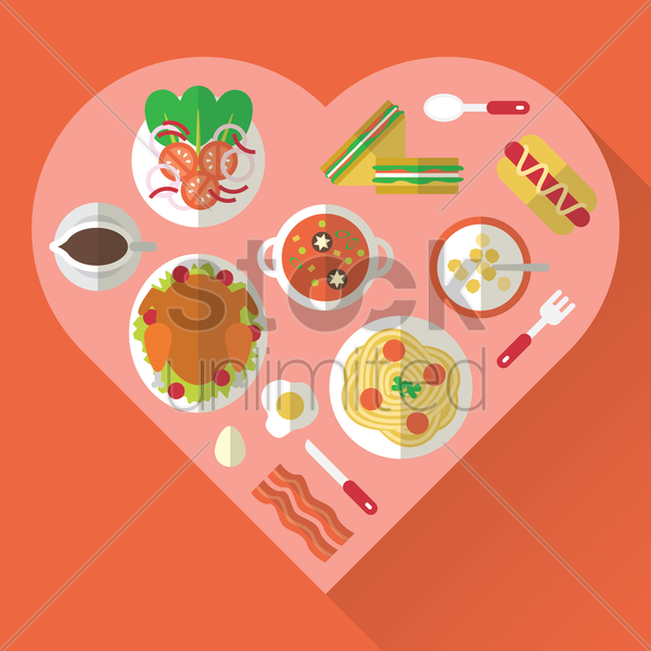 variety of food dishes vector graphic