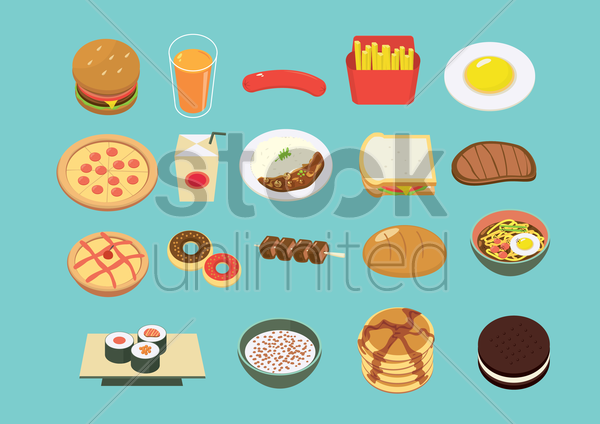variety of food set vector graphic