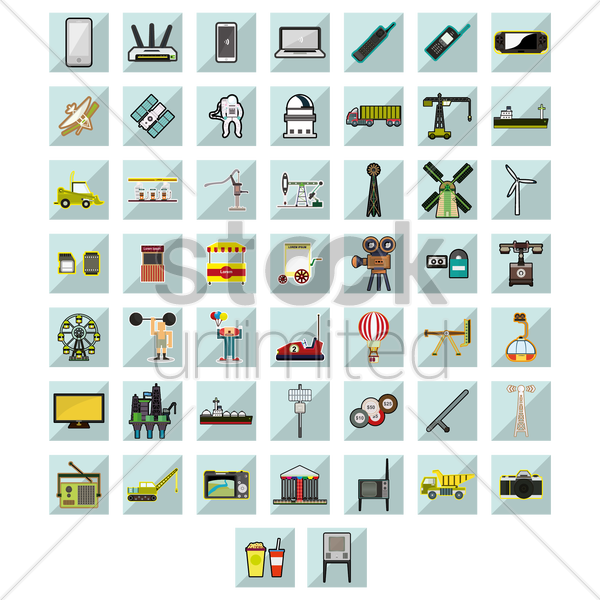 variety of icons vector graphic
