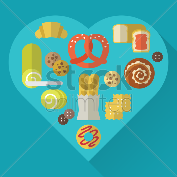 variety of pastries and baked products vector graphic