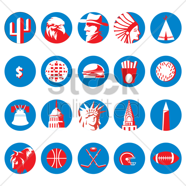 various american icons vector graphic