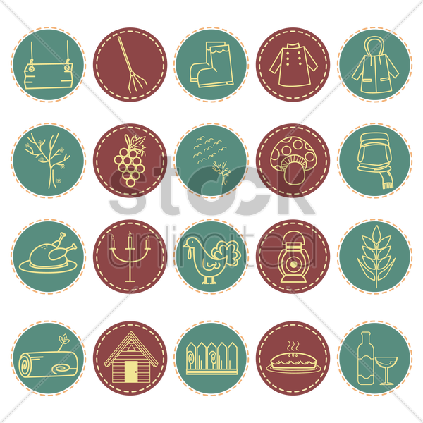 various autumn related items vector graphic