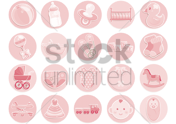 various baby items vector graphic