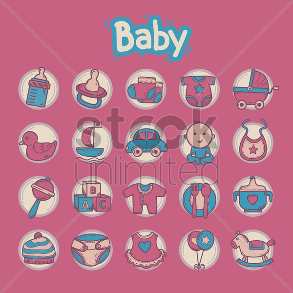 Free various baby theme icons vector graphic