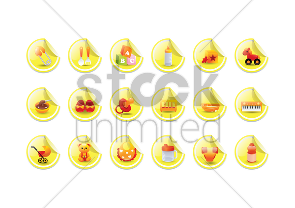 various baby theme icons vector graphic