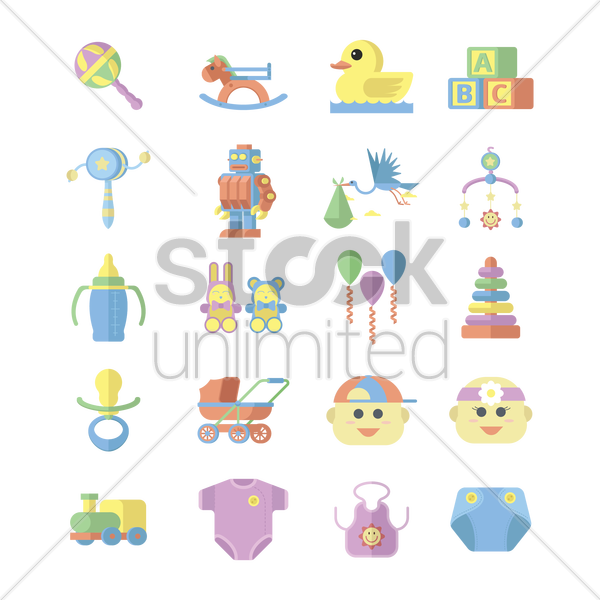 various baby theme vector graphic