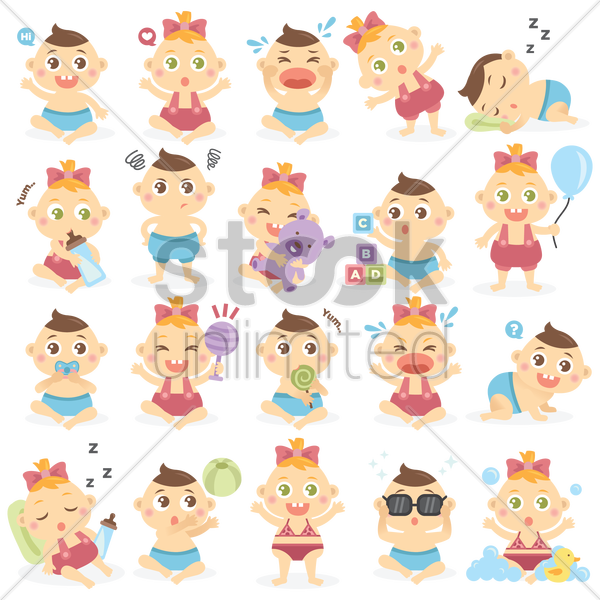 Free various baby vector graphic