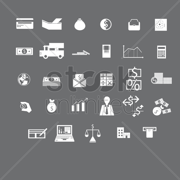 various banking and finance icons vector graphic