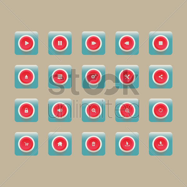 various button icons vector graphic