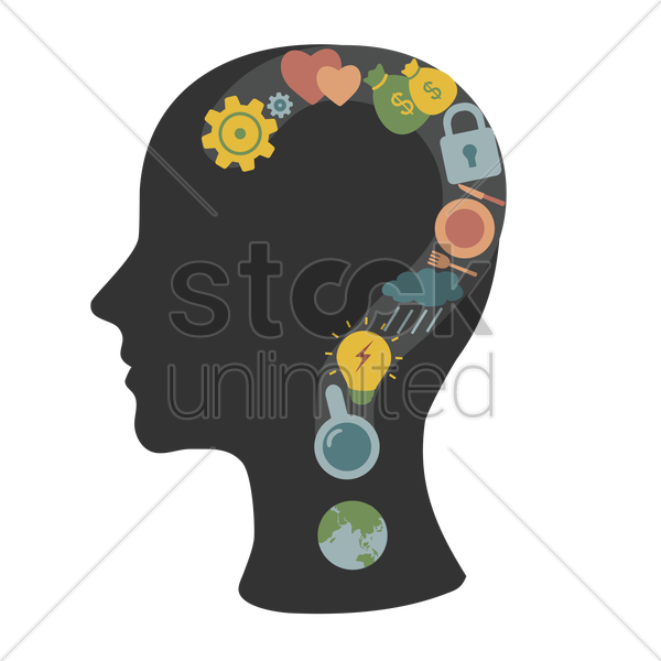 various concepts questioned in the human head vector graphic