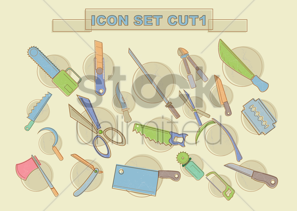 various cutting tools vector graphic
