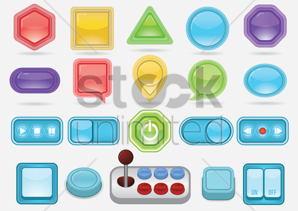 various design of buttons vector graphic