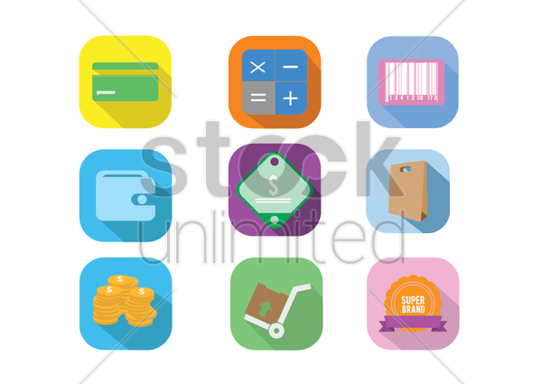 various e-commerce icons vector graphic
