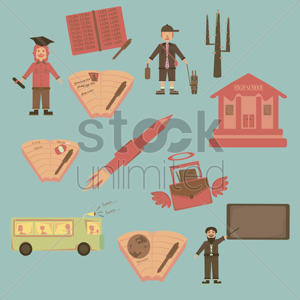 various education concept icons vector graphic