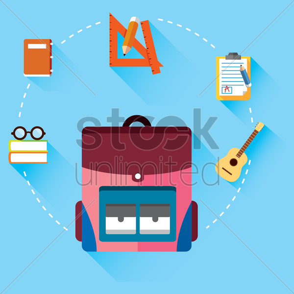 various education icons in a circle vector graphic