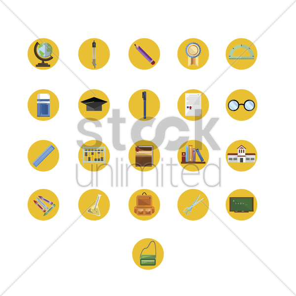 various education icons vector graphic
