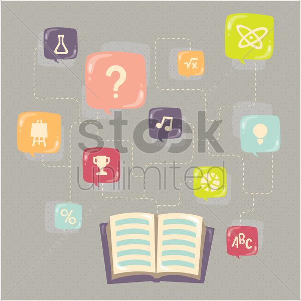various education items in speech bubble connected to a book vector graphic