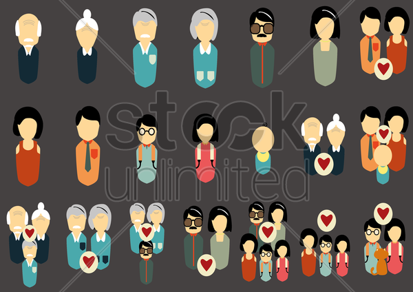 Free various family related characters vector graphic