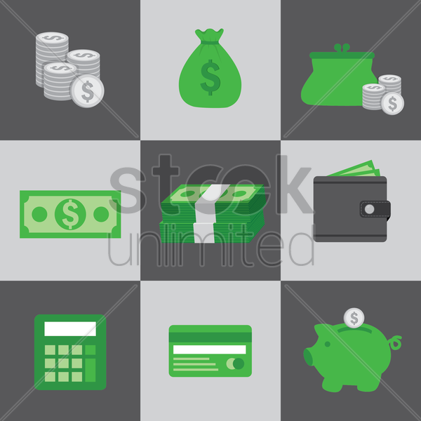 various financial icons vector graphic