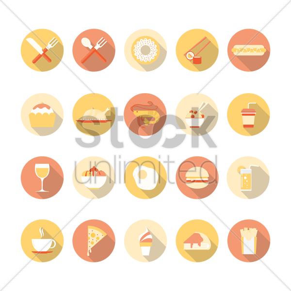 various food and beverage vector graphic