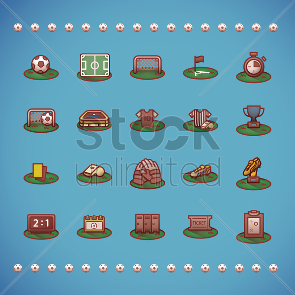 various football theme icons vector graphic