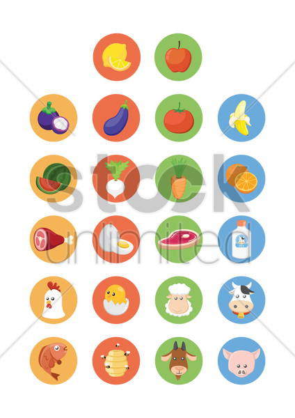 various fresh farm produce icons vector graphic